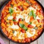 A close up of gnocchi alla sorrentina in a pan