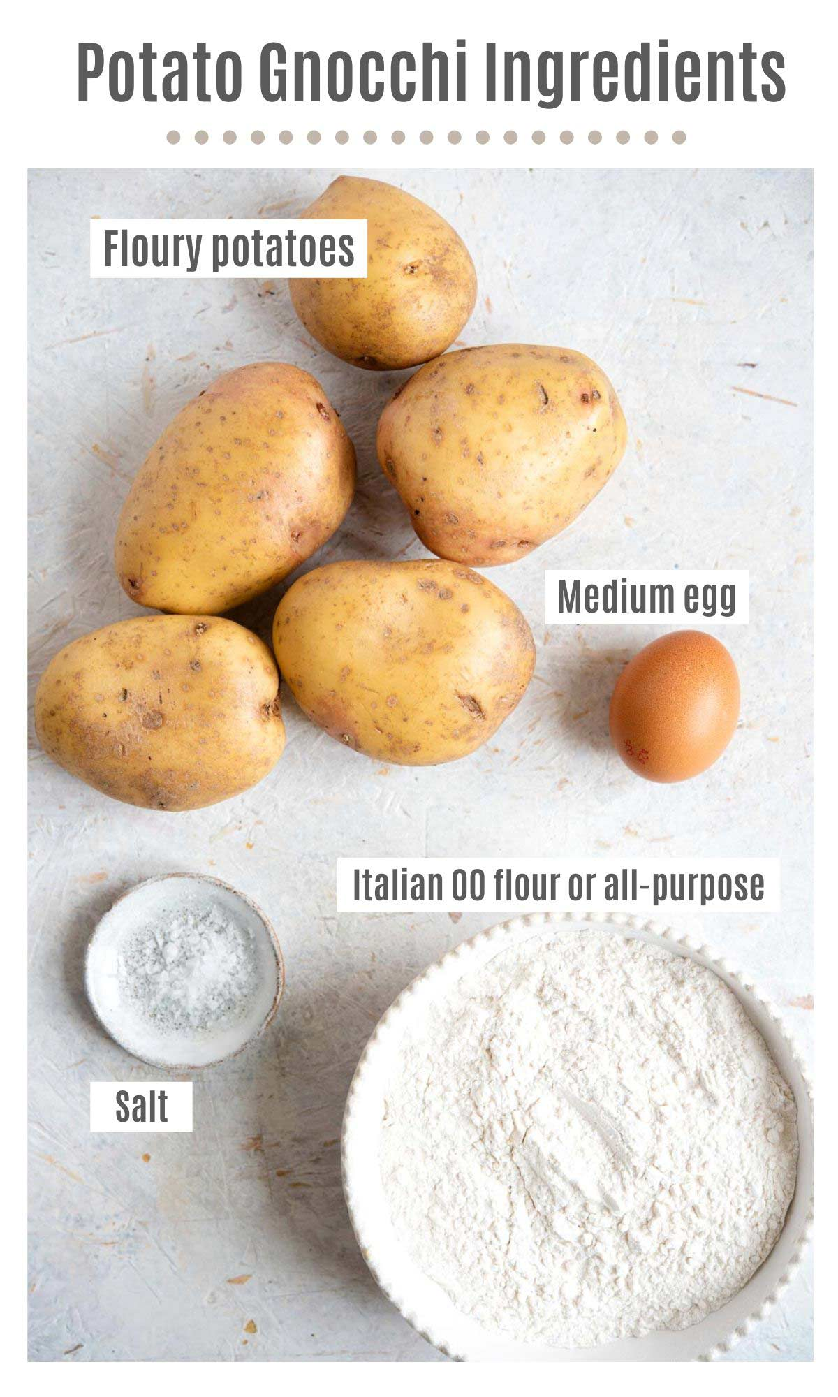 An overhead shot of all the ingredients you need to make potato gnocchi