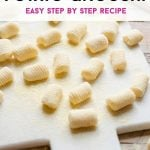 A pinterest graphic of potato gnocchi