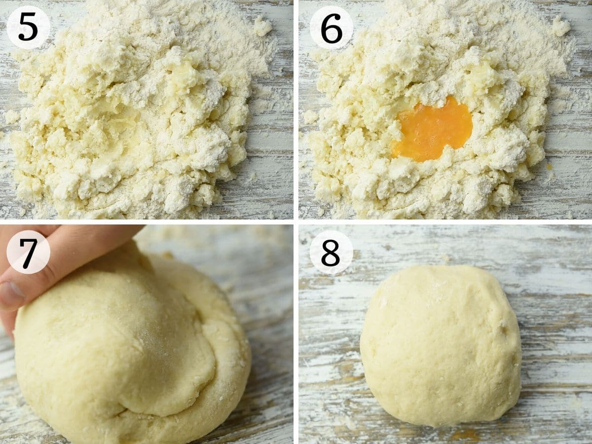 Step by step photos showing how to make gnocchi dough