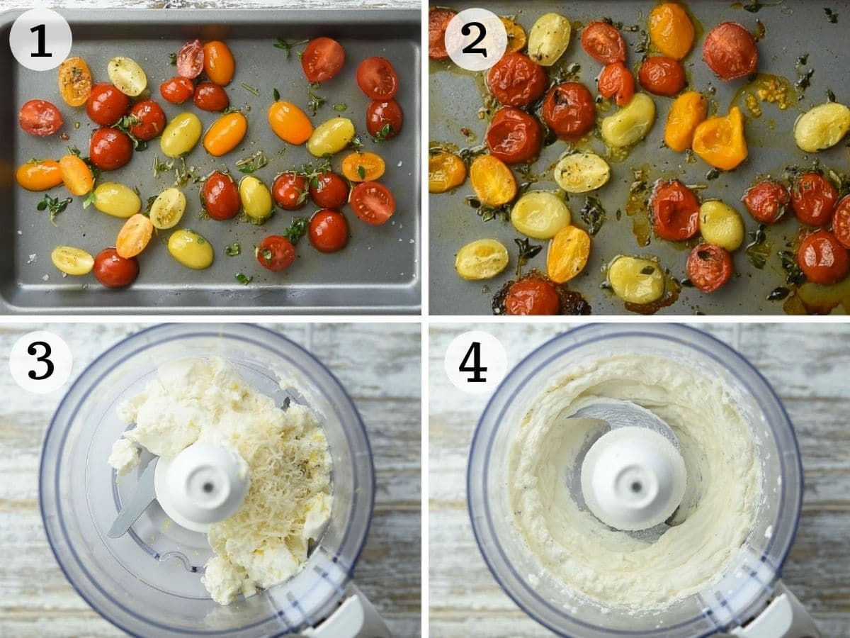 Step by step photos showing how to make a whipped ricotta dip with roasted tomatoes