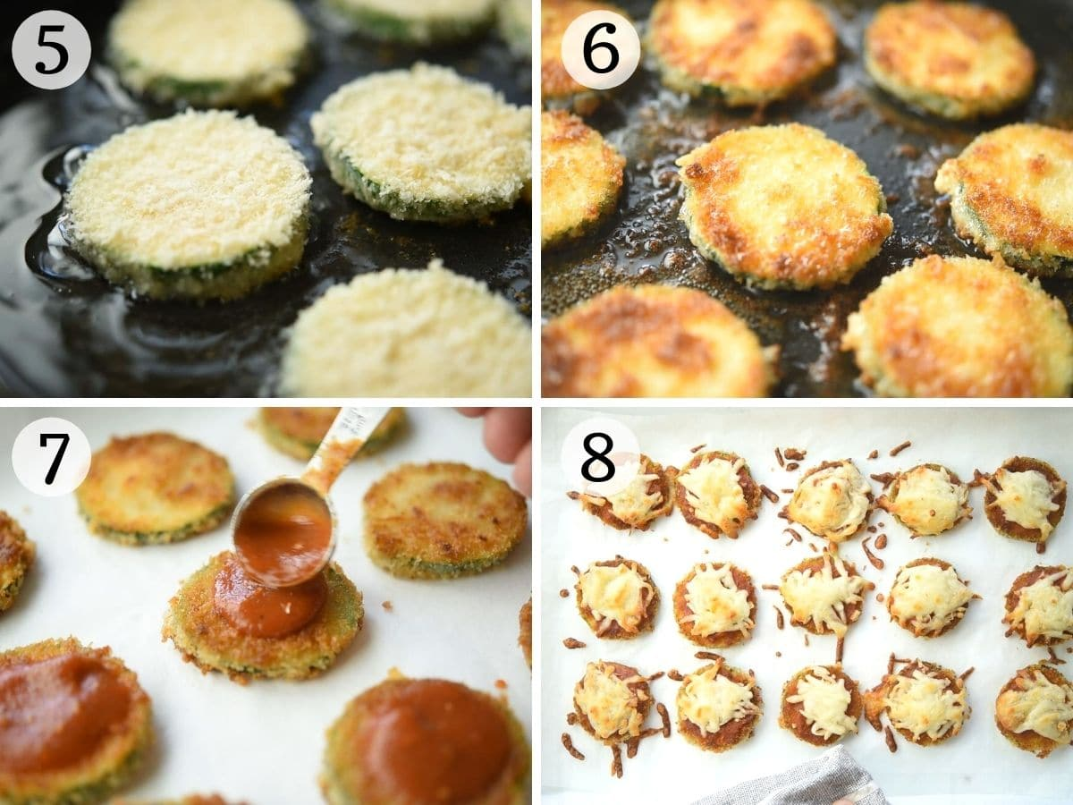 Step by step photos showing how to cook zucchini pizza bites