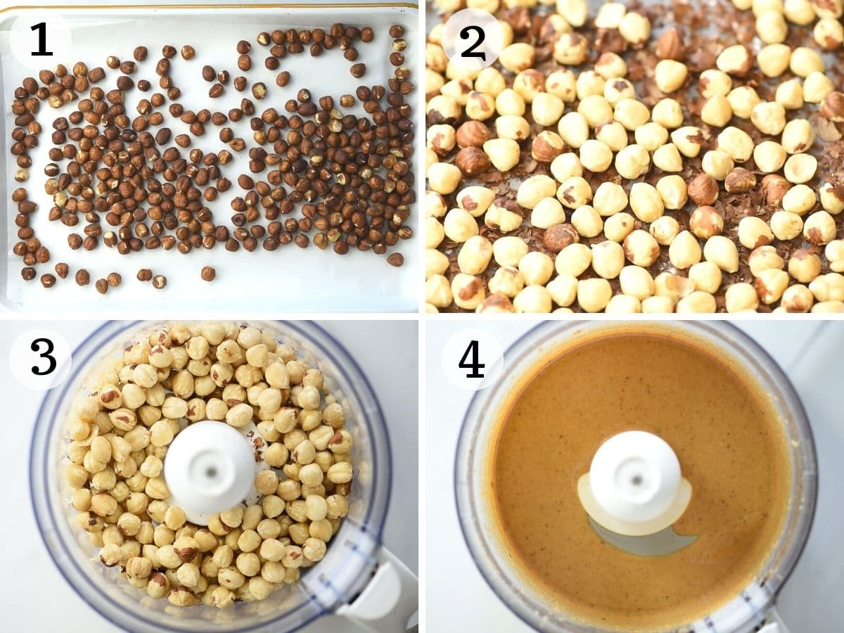 Step by step photos showing how to roast and blend hazelnuts