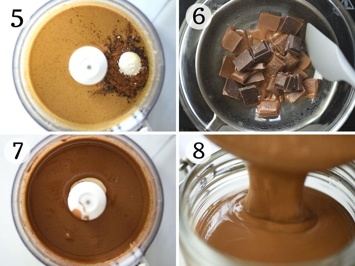 Step by step photos showing how to make homemade Nutella
