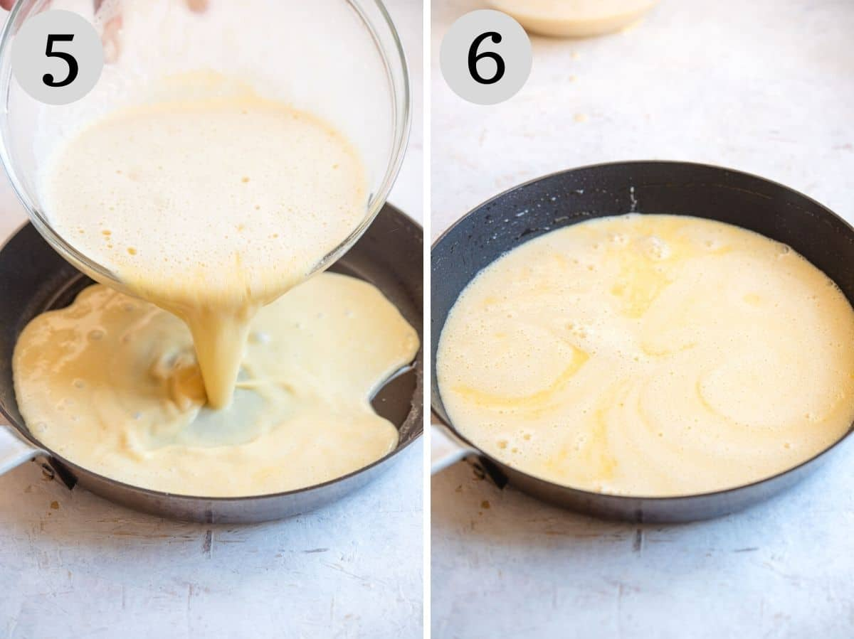 Two photos showing how to pour the farinata batter into a skillet