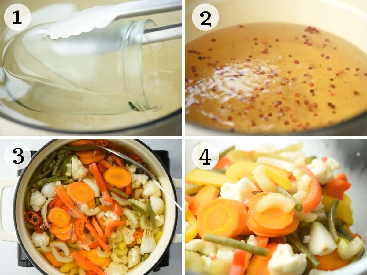 Step by step photos showing how to prepare Giardiniera Italian Vegetables