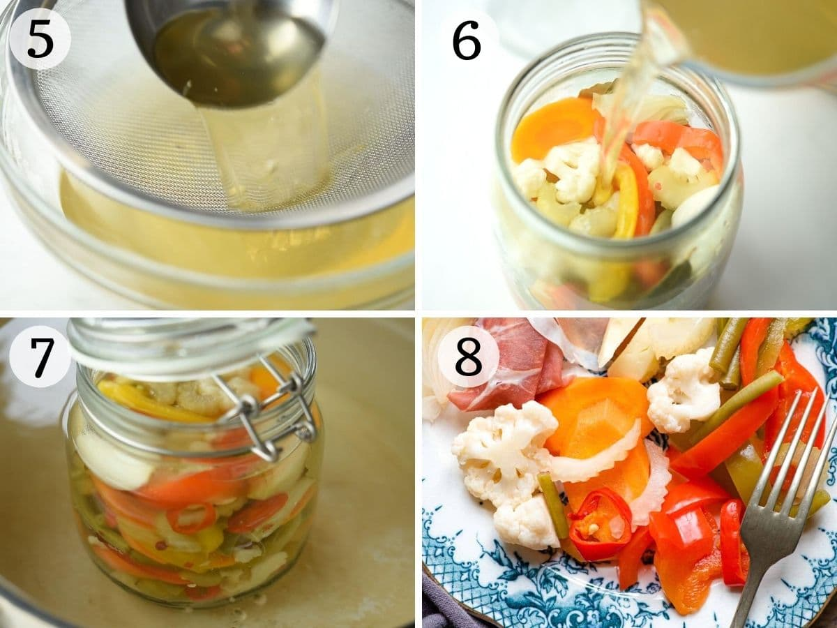 Step by step photos showing how to can and seal Giardiniera Italian vegetables