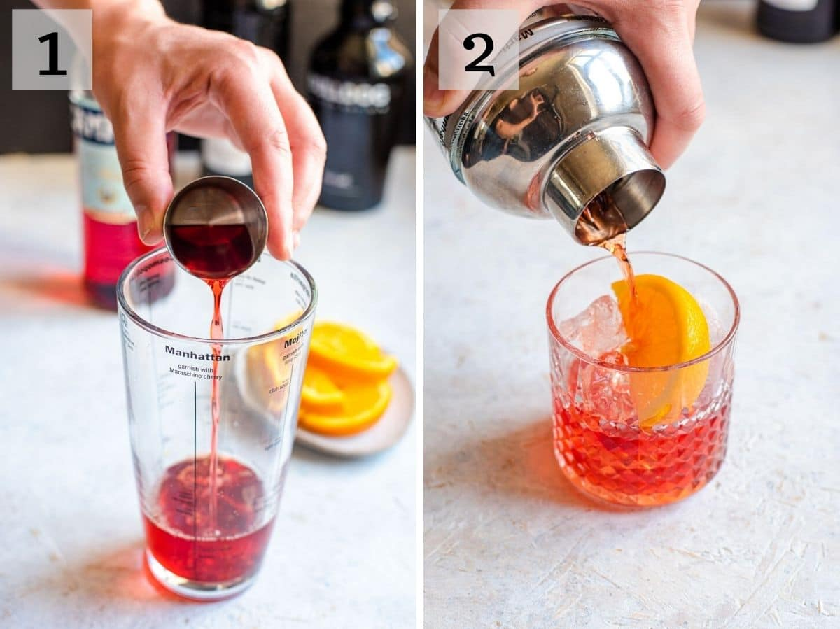 Two photos showing how to make a negroni cocktail