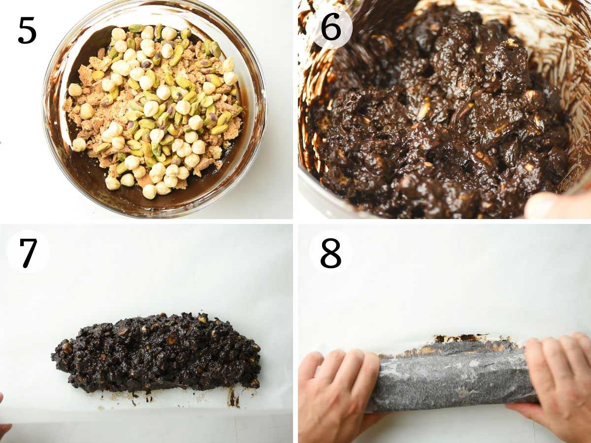 Step by step photos showing how to add nuts and cookies to melted chocolate