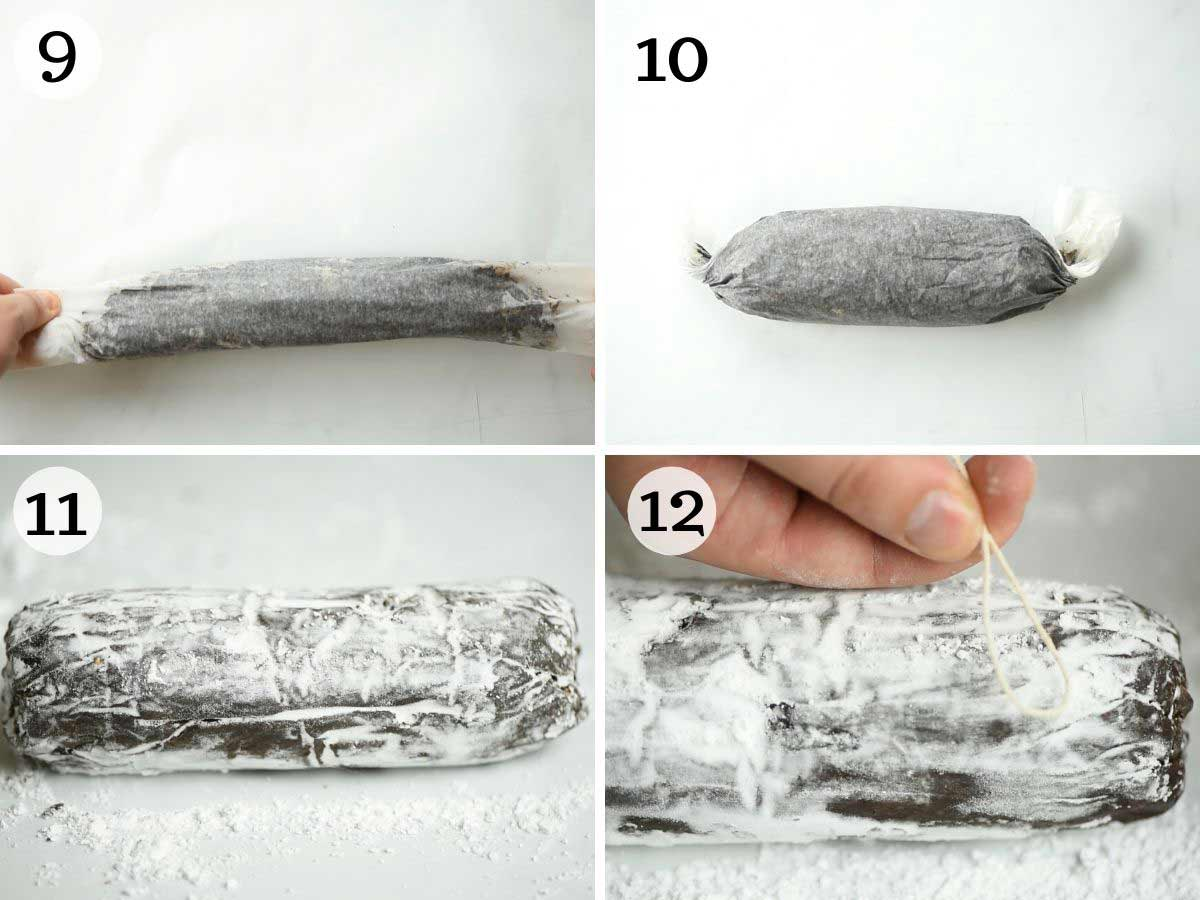 Step by step photos showing how to roll a chocolate salami and dust in sugar