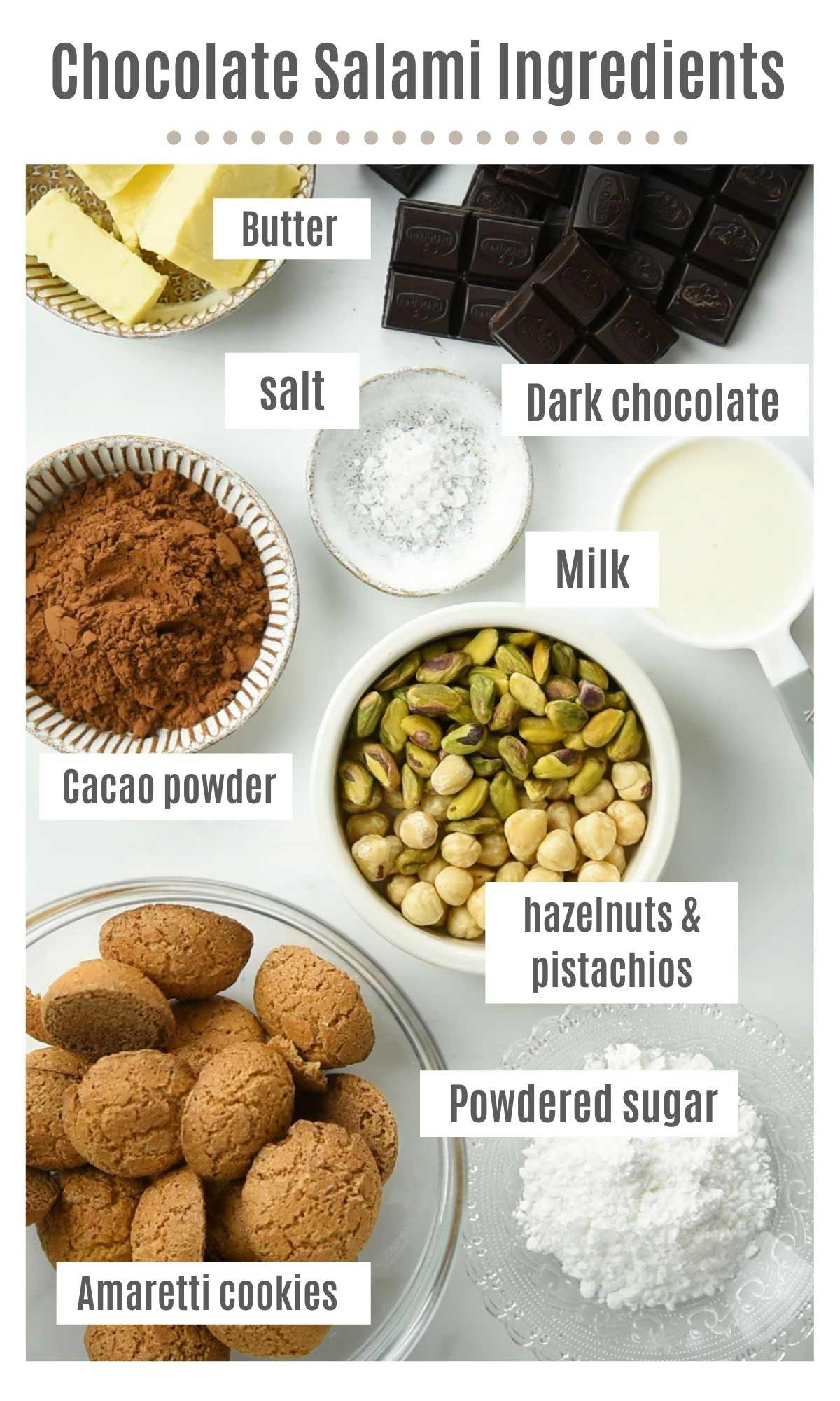 An overhead shot of all the ingredients you need to make chocolate salami