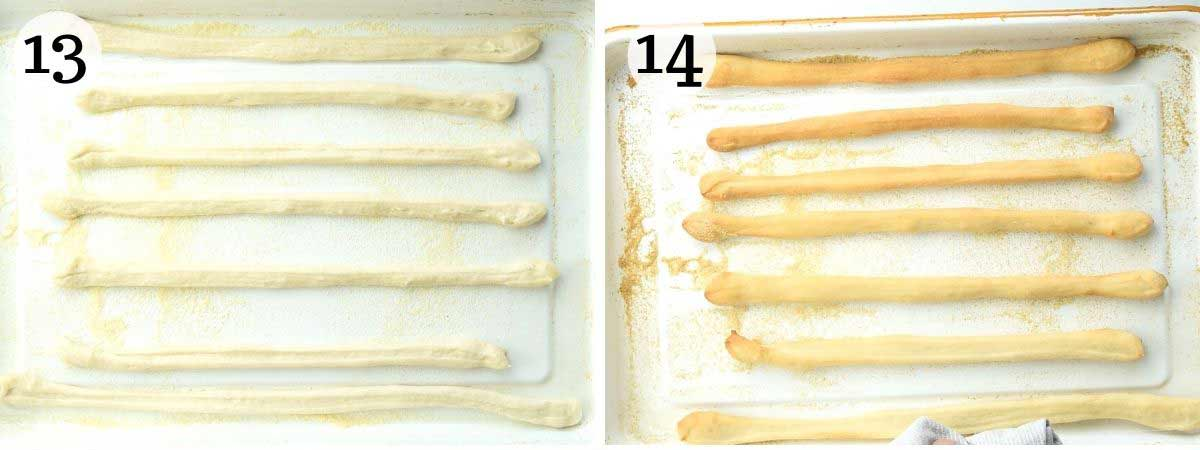 Two photos of Italian breadsticks before and after baking