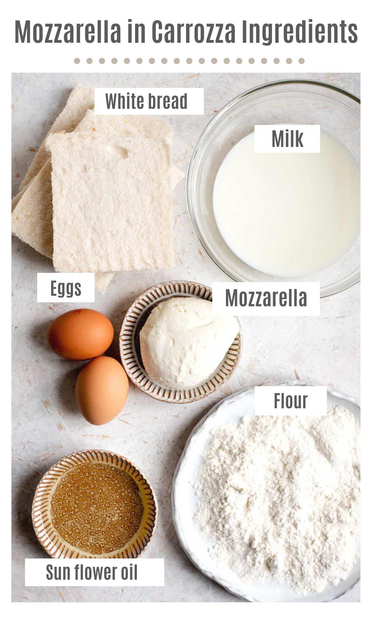 An overhead shot of the ingredients you need to make mozzarella in carrozza