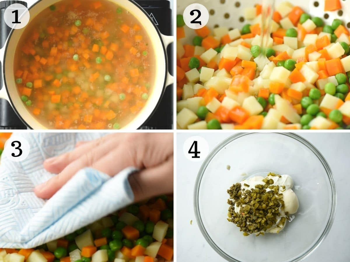 Step by step photos showing how to prepare vegetables