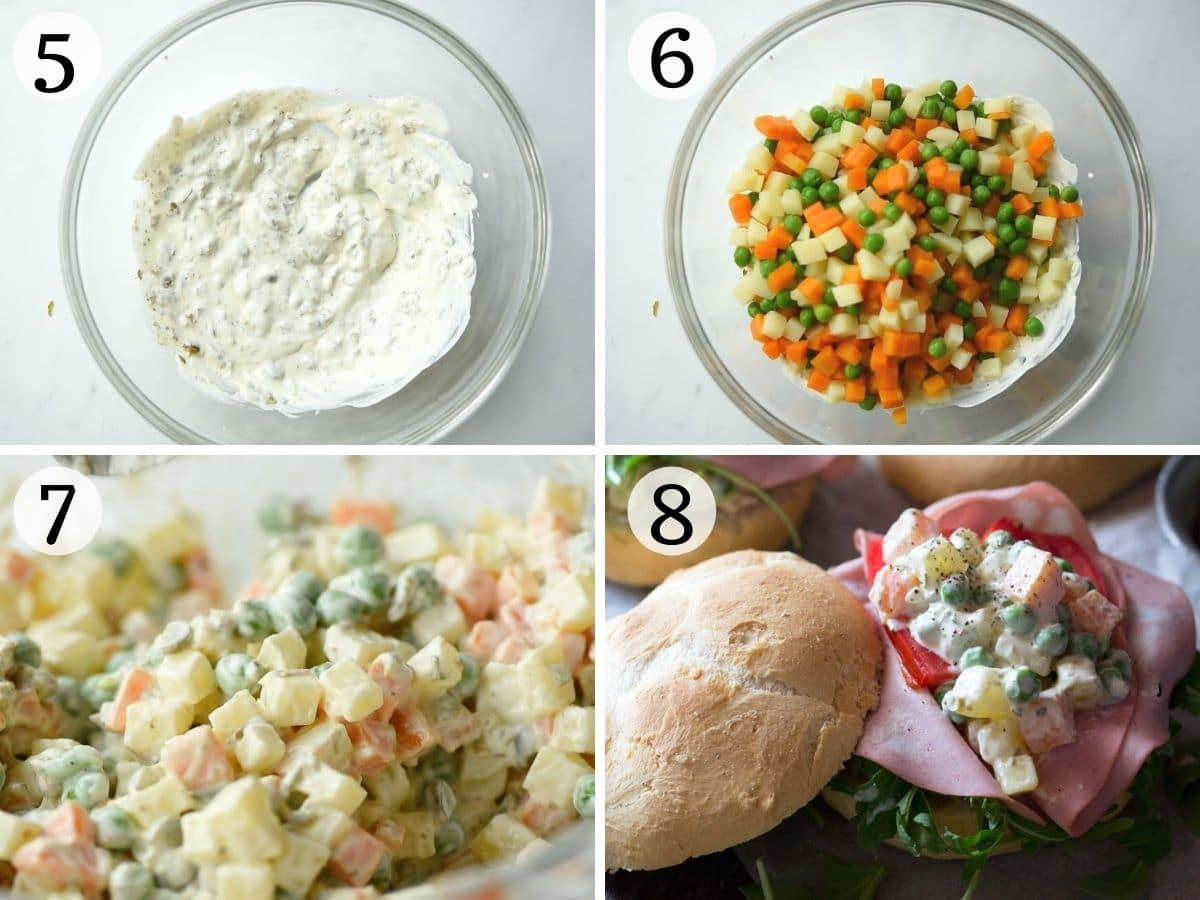 Step by step photos showing how to make russian salad