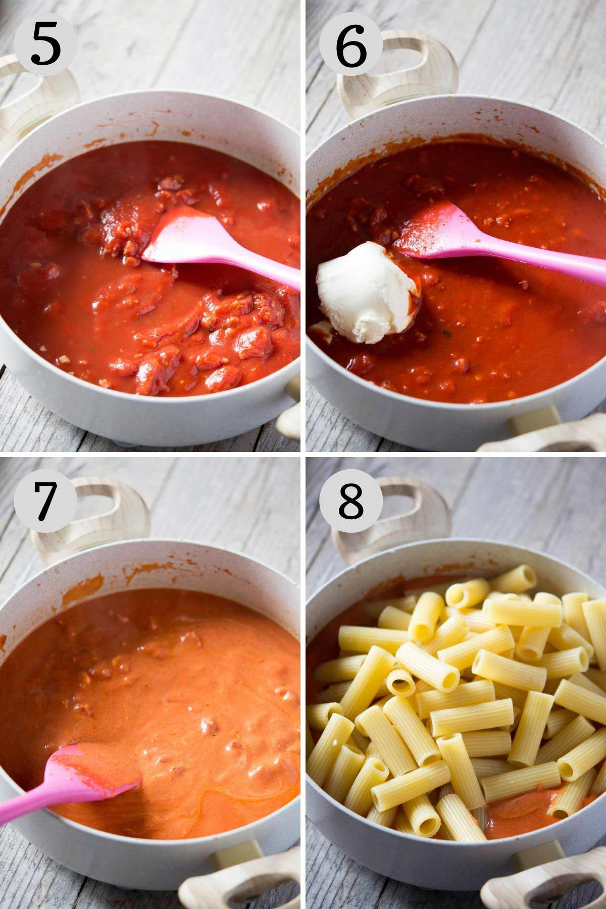 Step by step photos showing how to make a sausage pasta bake