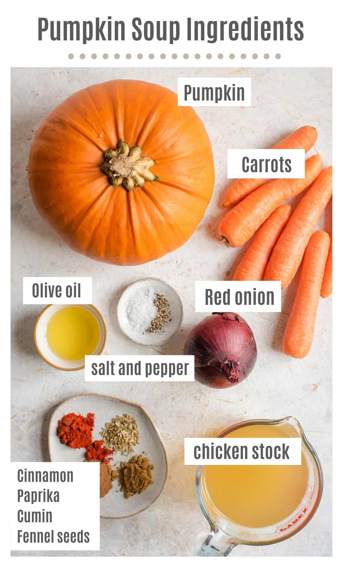 An overhead shot of all the ingredients you need to make pumpkin soup