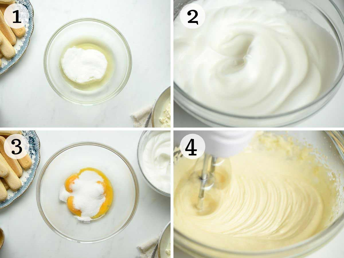 Step by step photos showing how to whisk egg whites and yolks