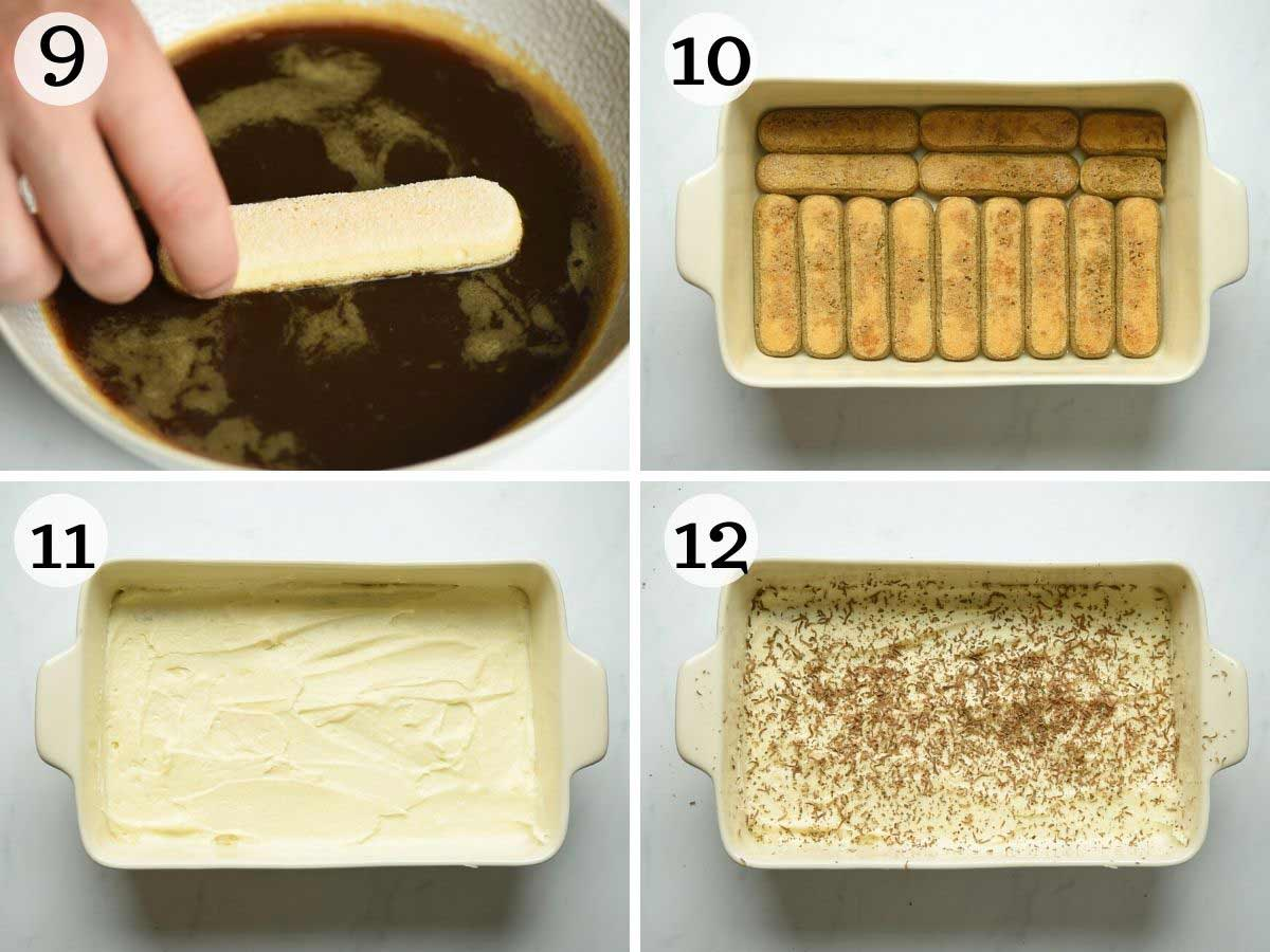 Step by step photos showing how to assemble a tiramisu