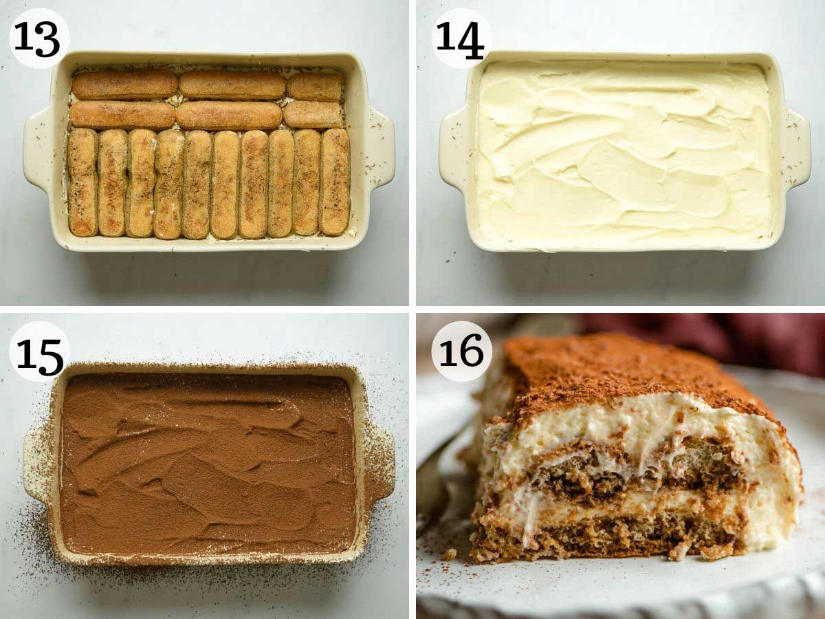 Step by step photos showing how to finish making a tiramisu