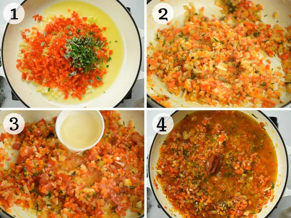 Step by step photos showing how to make vegetable ragu