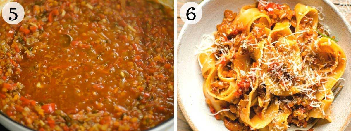 Two photos showing a how vegetable ragu should look once cooked