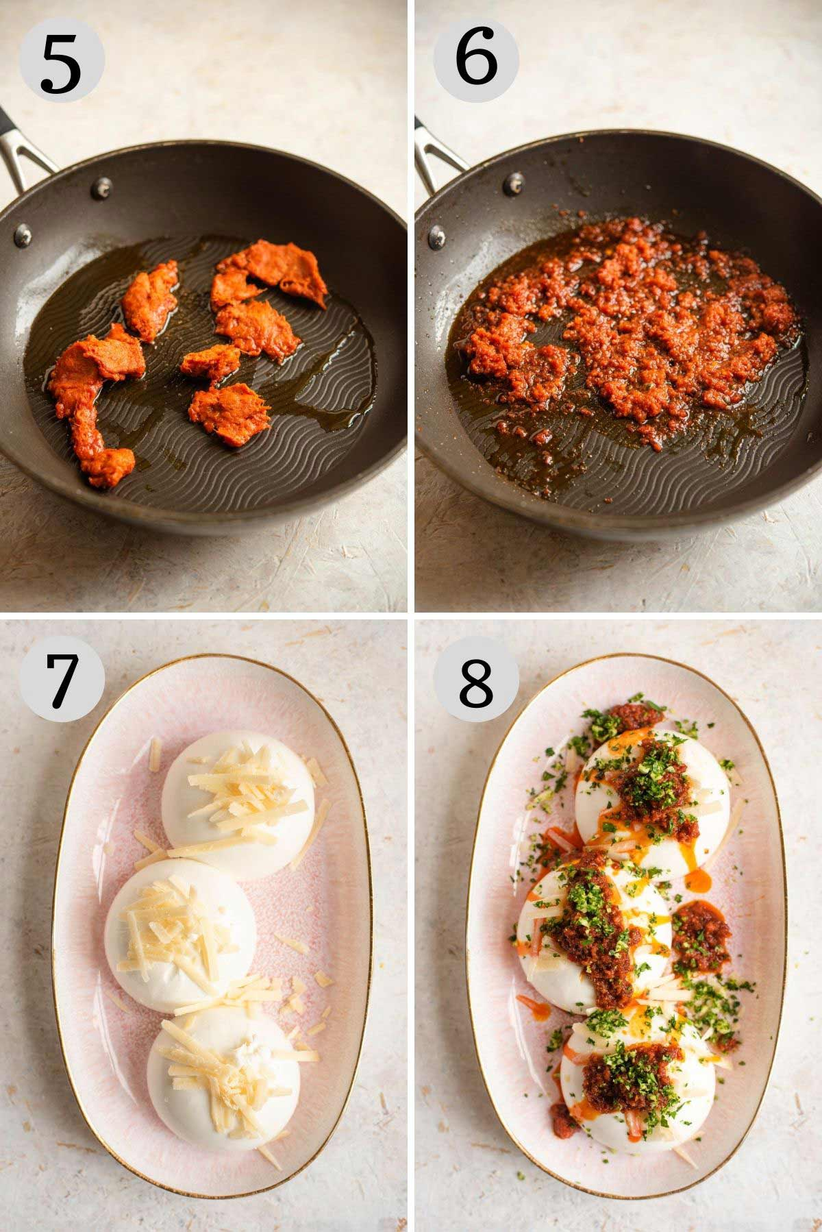 Step by step photos showing how to assemble a burrata appetizer