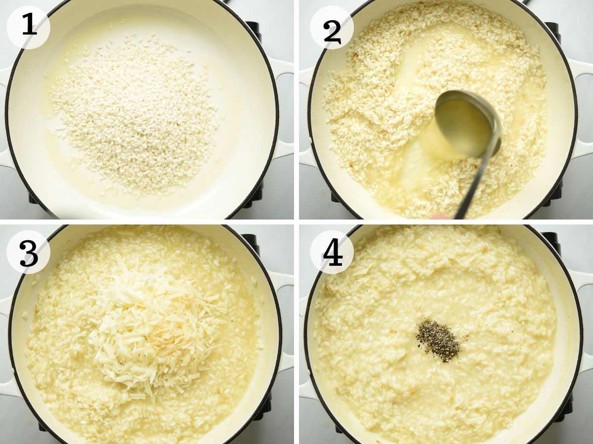 Step by step photos showing how to make cacio e pepe risotto