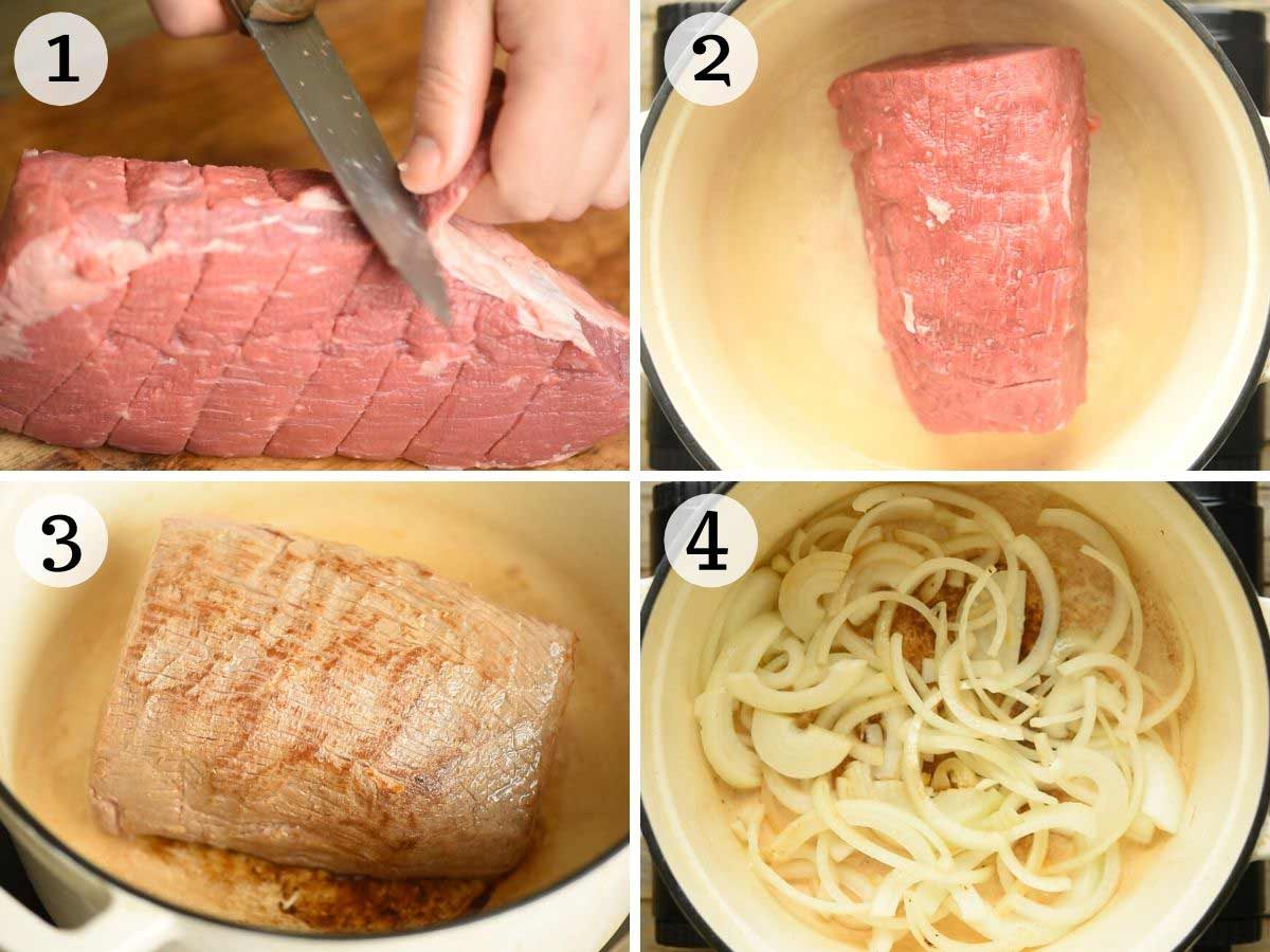 Step by step photos showing how to brown Italian roast beef