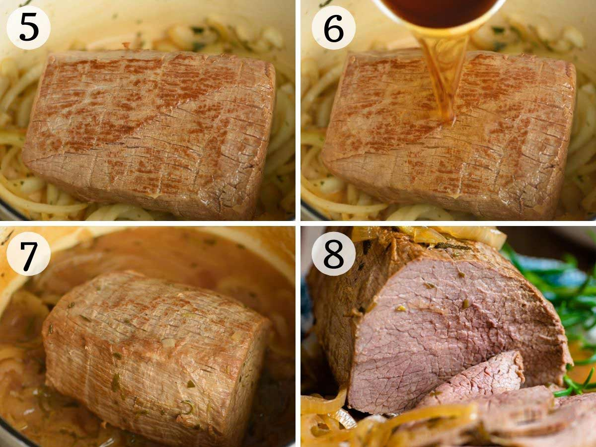Step by step photos showing how to cook Italian roast beef