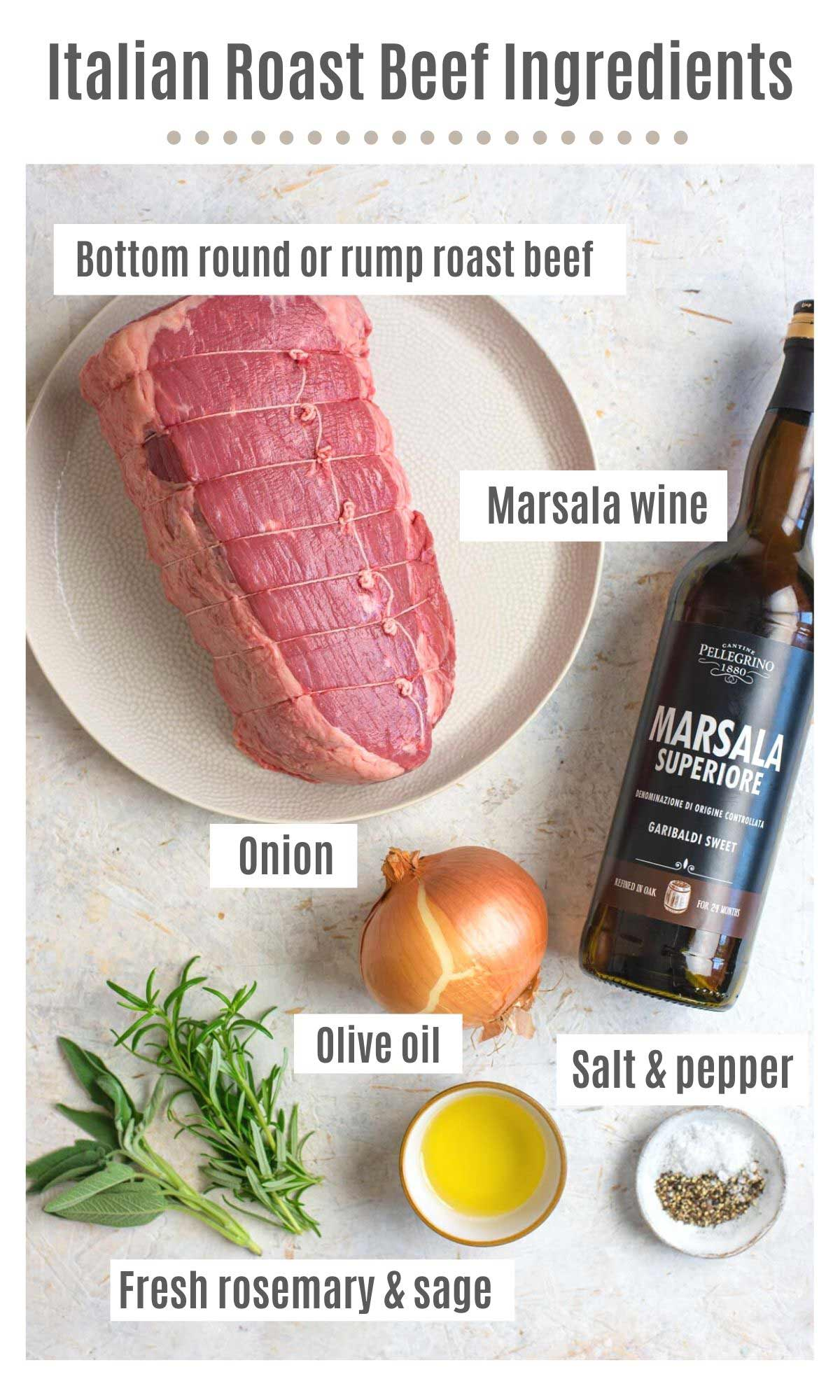 An overhead shot of all the ingredients you need to make Italian roast beef