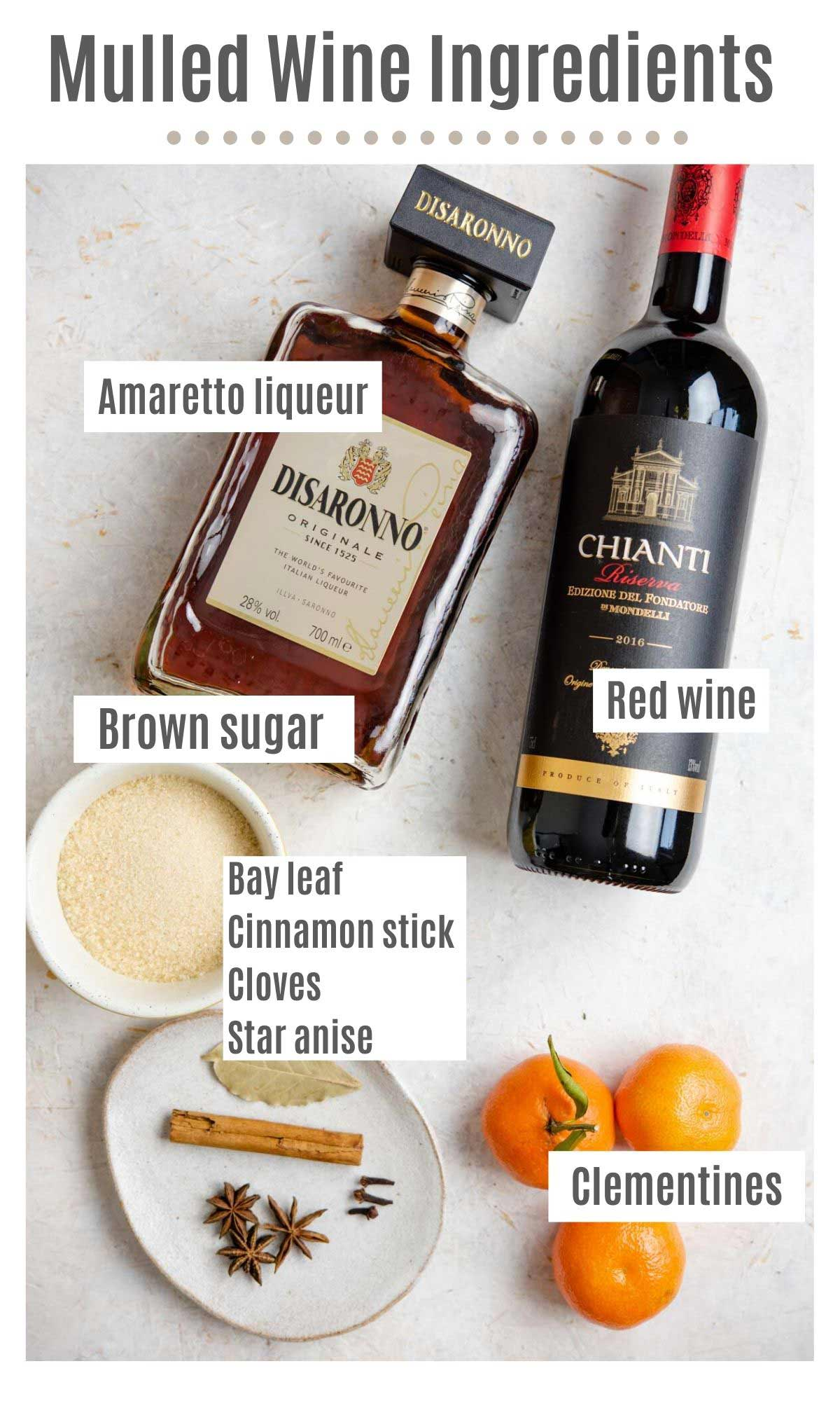 An overhead shot of all the ingredients you need to make mulled wine