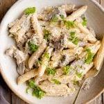 A close up of pasta alla boscaiola in a bowl