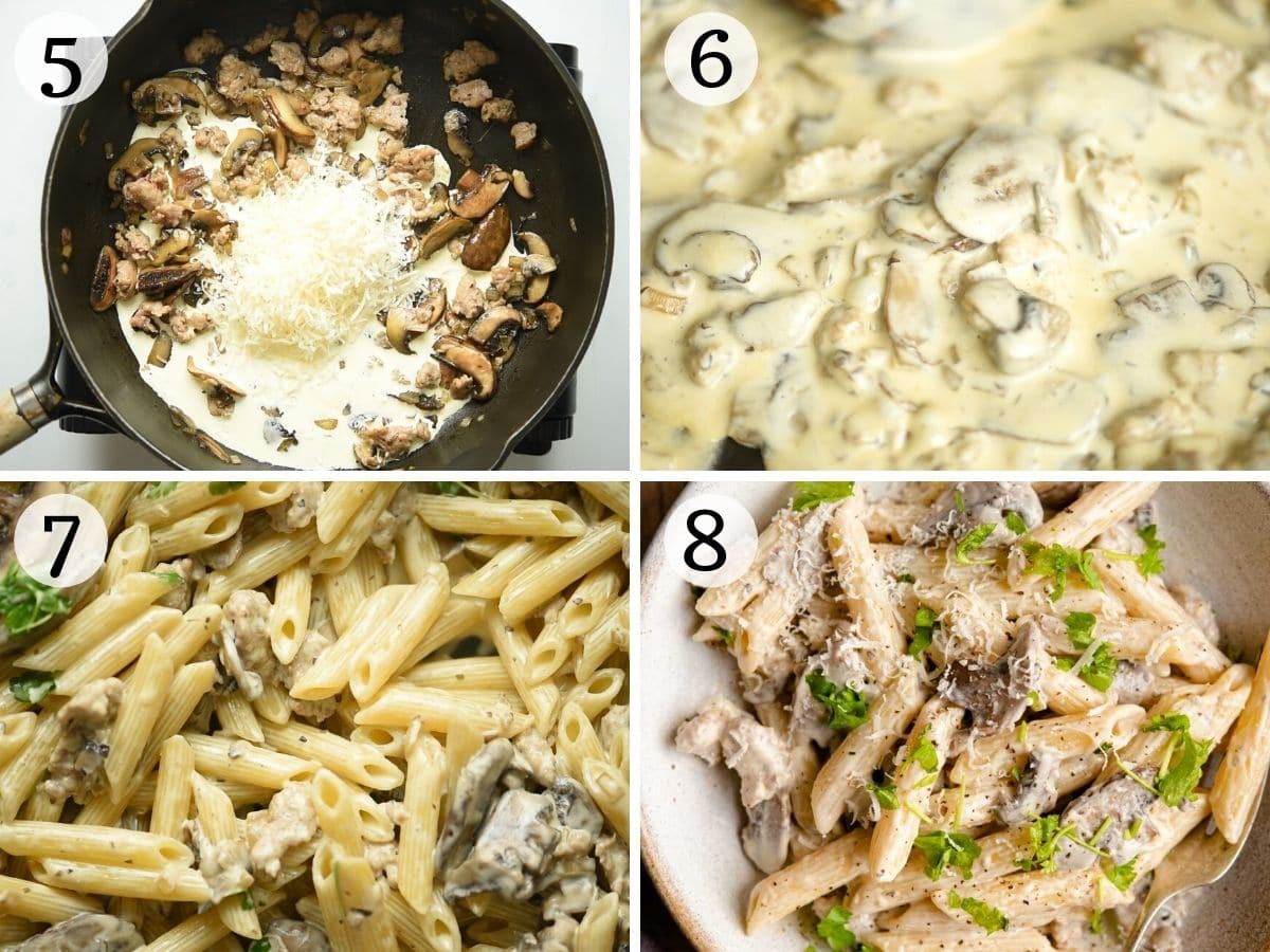 Step by step photos showing how to make pasta alla Boscaiola