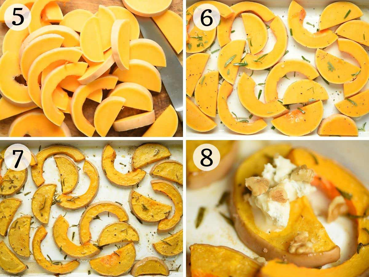 Step by step photos showing how to roast butternut squash