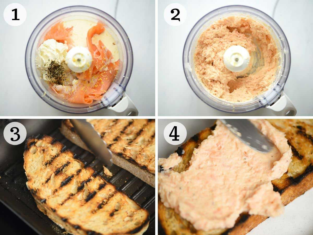 Step by step photos showing how to make smoked salmon crostini