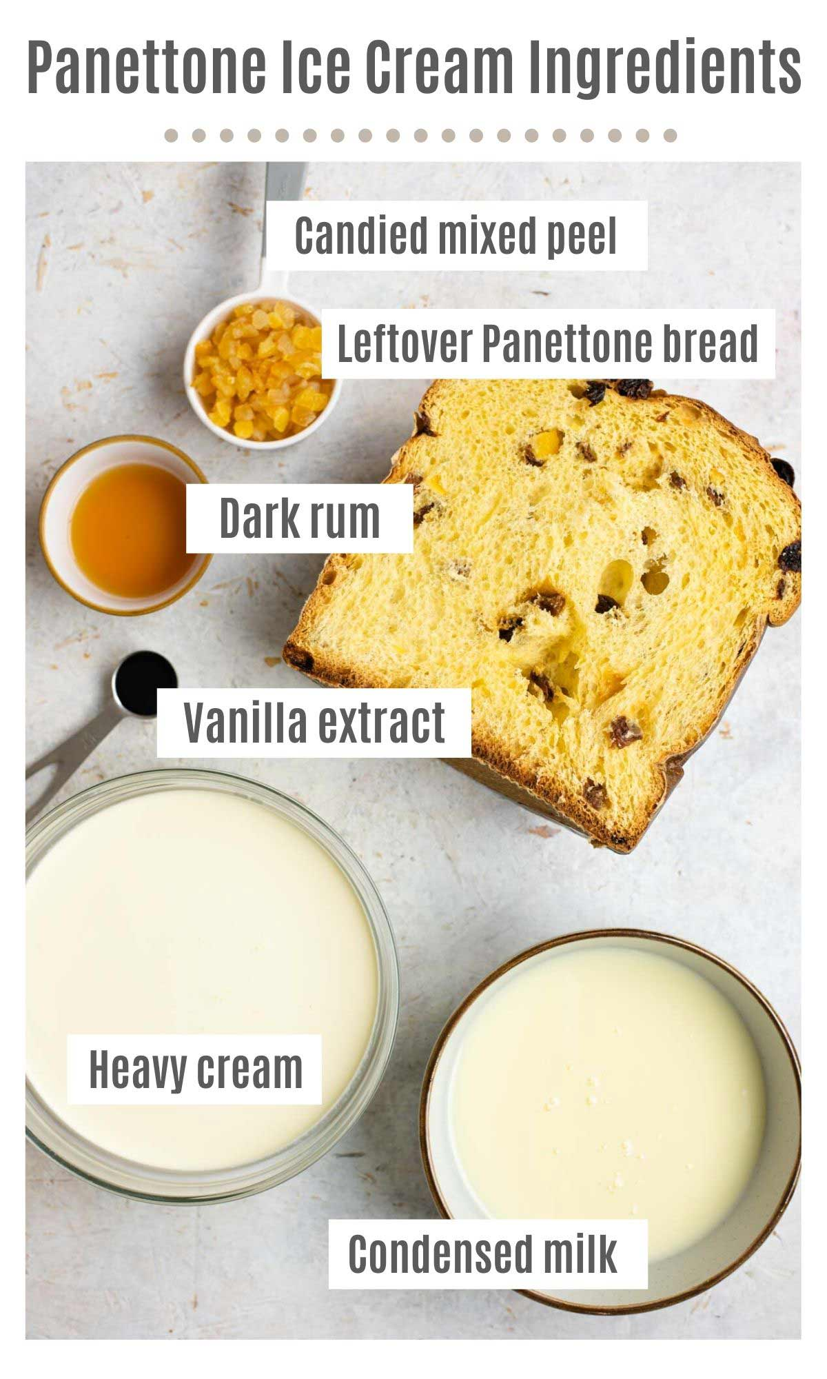 An overhead shot of all the ingredients you need to make Panettone ice cream