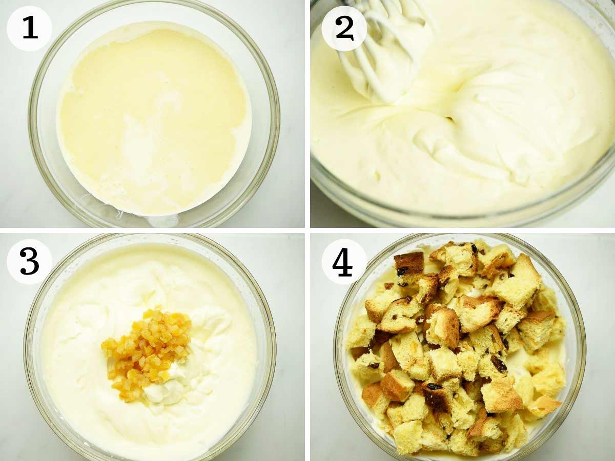 Step by step photos showing how to make panettone ice cream
