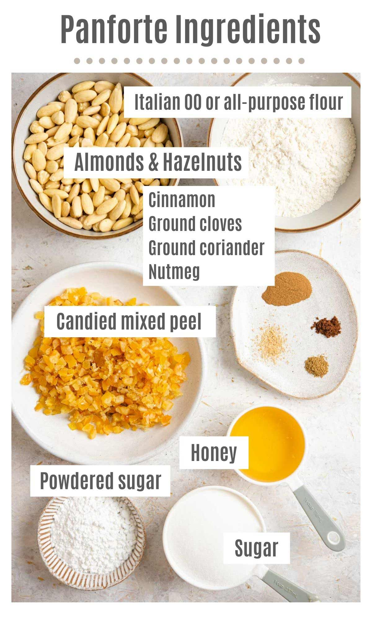 An overhead shot of all the ingredietns you need to make panforte