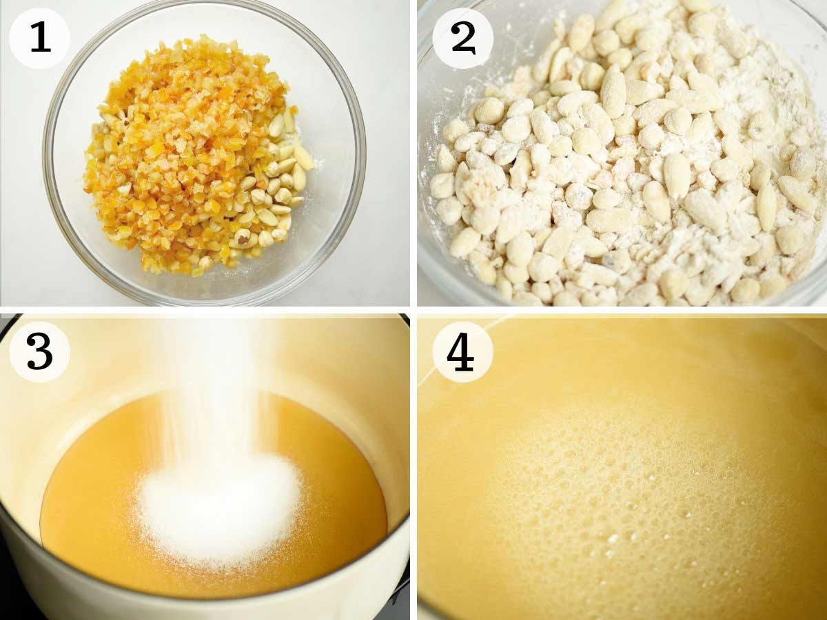 Step by step photos showing how to prepare panforte
