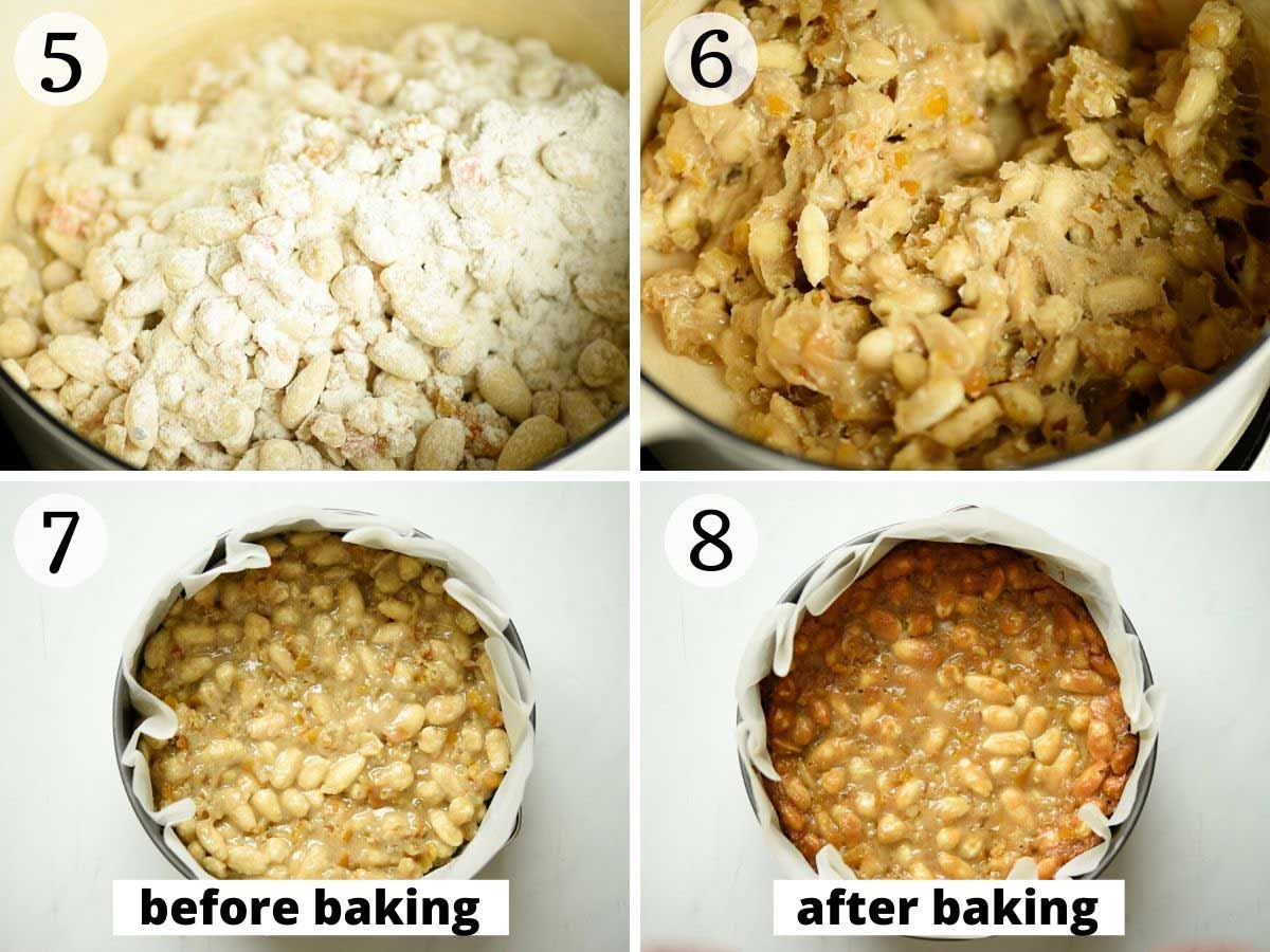 Step by step photos showing panforte before and after baking