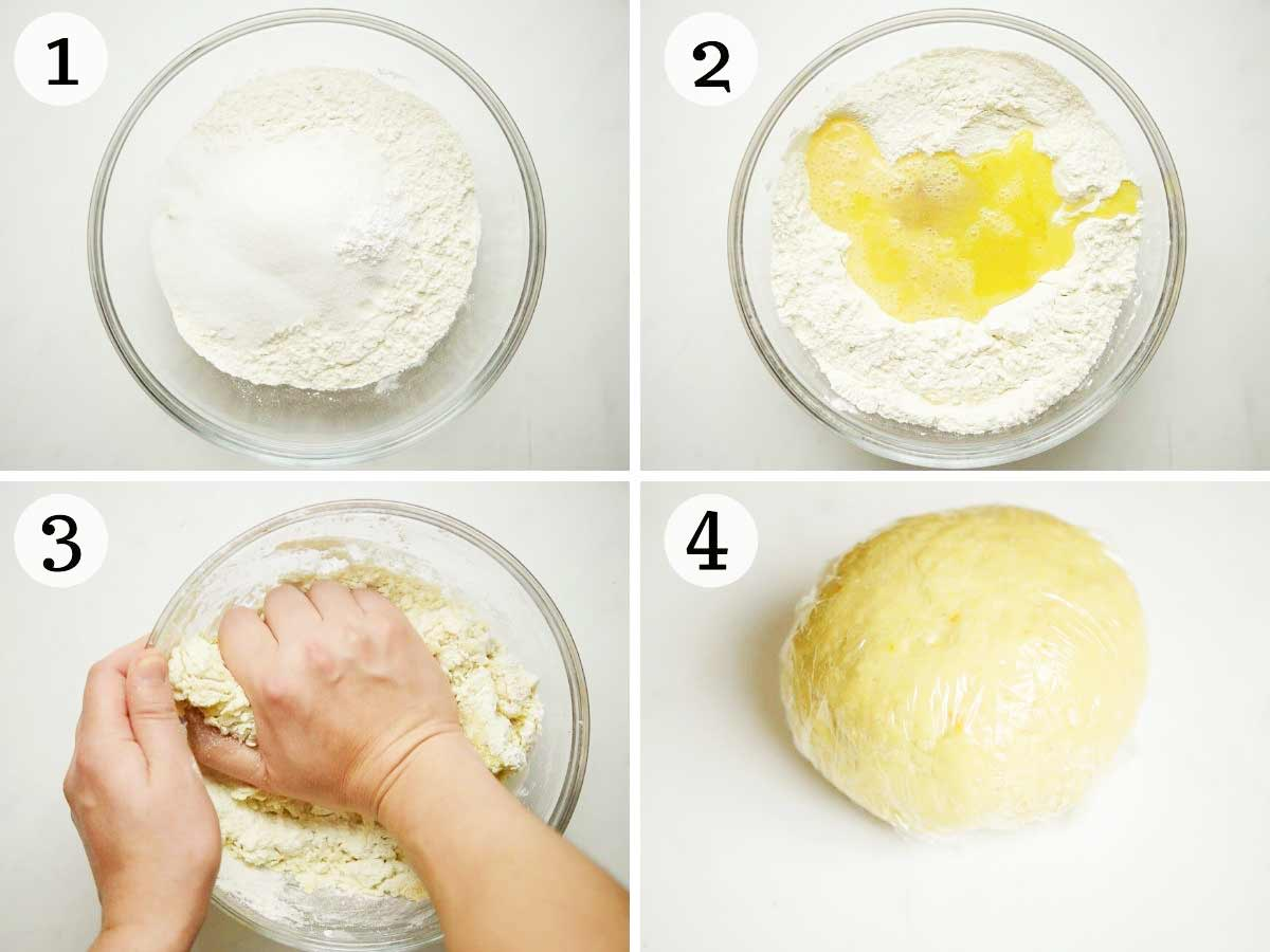 Step by step photos showing how to make struffoli dough