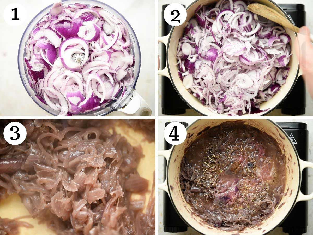 Step by step photos showing how to make slowly cook red onions