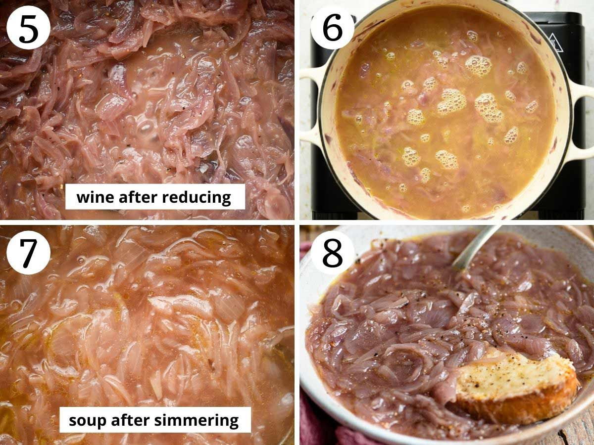 Step by step photos showing how to make Carabaccia soup