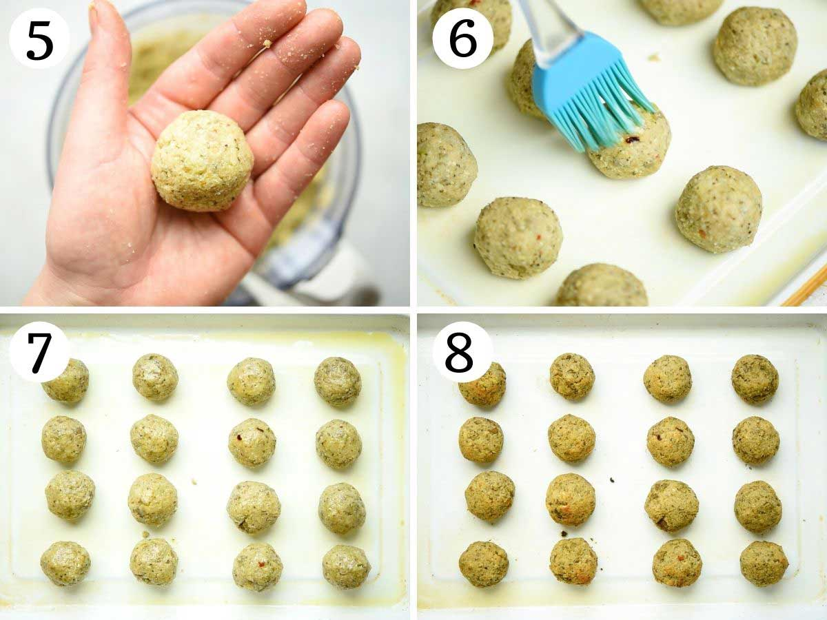 Step by step photos showing how to roll eggplant meatballs