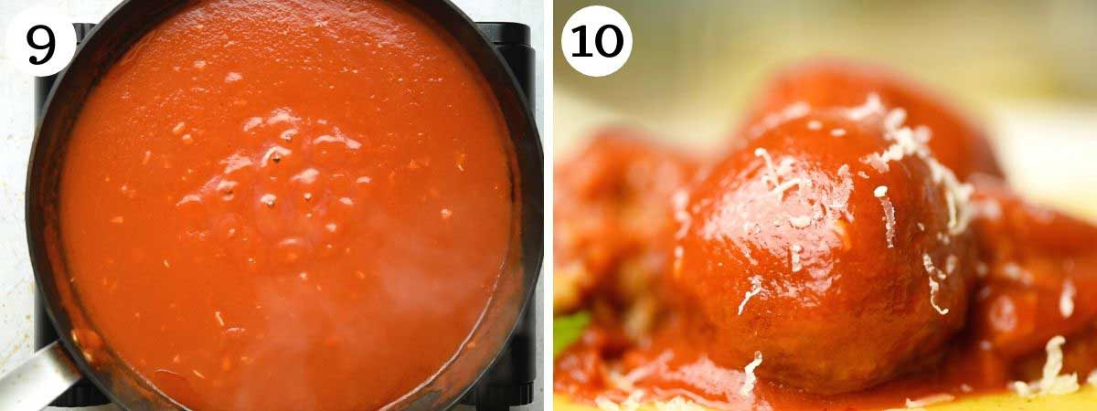 Step by step photos showing how to make a tomato sauce for eggplant meatballs