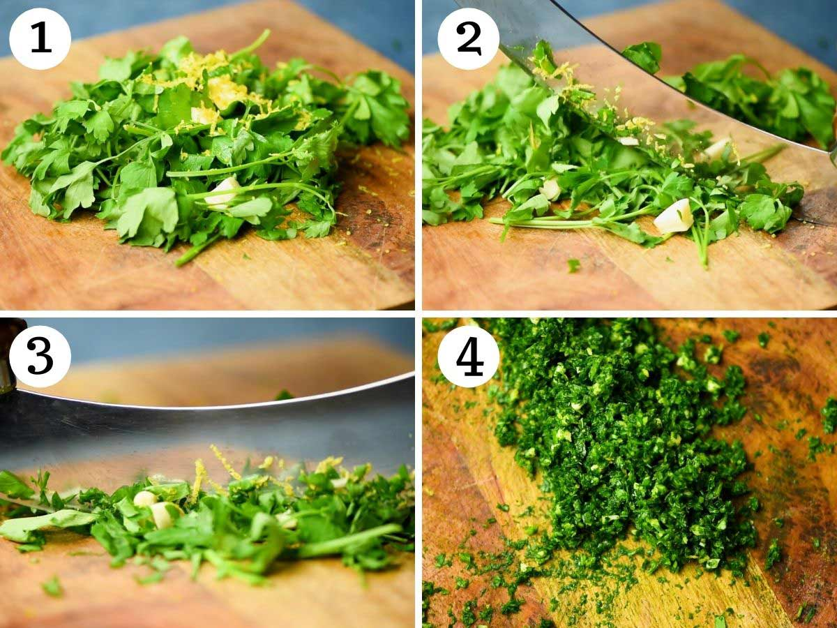 Step by step photos showing how to make gremolata