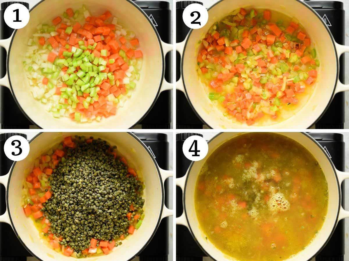 Step by step photos showing how to make Italian lentil soup