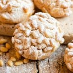 A close up of an Italian pine nut cookie