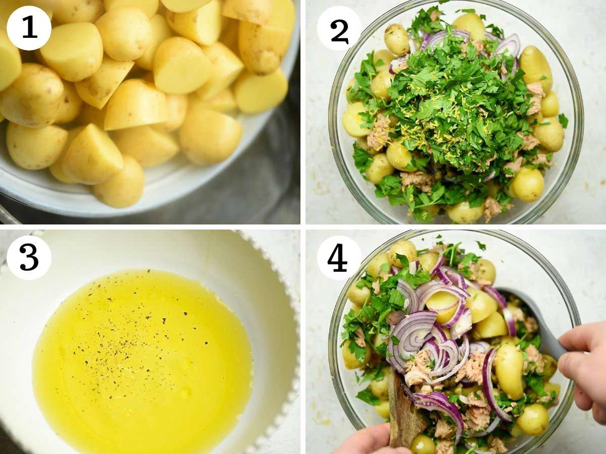 Step by step photos showing how to make a tuna potato salad
